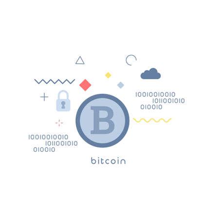 bitcoin concepts.bitcoin modern vector illustration concept. Simple vector icon.design for web UI, mobile upp, banner, poster.