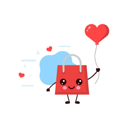 Cute happy smiling shopping bag with Red heart balloon.card or poster design. shopping bag kawaii cartoon illustration.cute illustration for children.