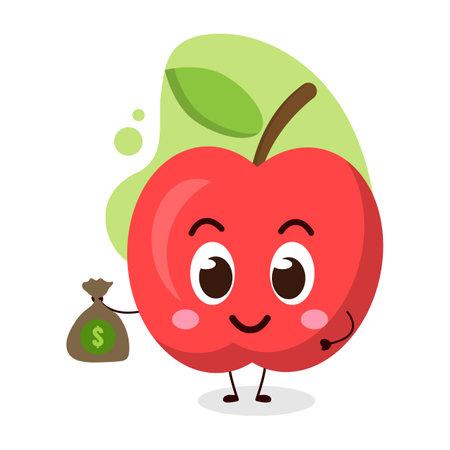cute apple hold dollar bag.illustration for business, t shirt, sticker, card or poster design.kawaii cartoon illustration.cute emoticon bring money. Vectores