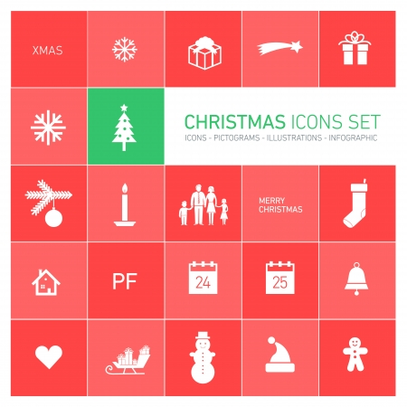 Vector squares background illustration with icons, typography and pictograms of christmas   ready to place your content Vector