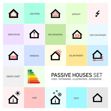 Vector passive houses icons and pictograms icon set Vectores