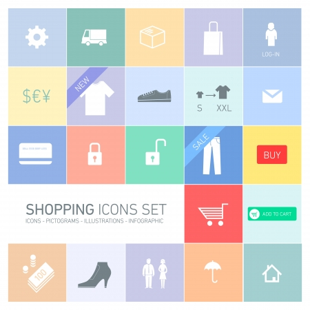 Vector abstract squares background illustration with icons, typography and pictograms of shopping   ready to place your content Vector