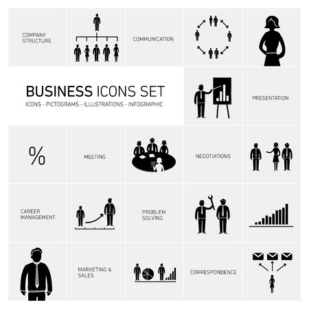 Vector abstract squares background illustration with icons, typography and pictograms of business people | ready to place your content