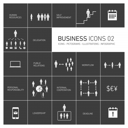 delegation: vector abstrac business icons and pictograms set | black and white