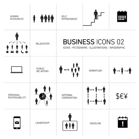 ベクトルの抽象化のためのビジネスのアイコンとピクトグラムの白い背景に黒を設定