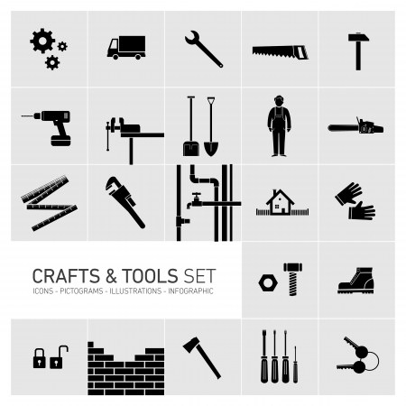 Vector square crafts and tools icon set Vector