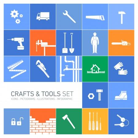Vector vierkante ambachten en gereedschappen icon set