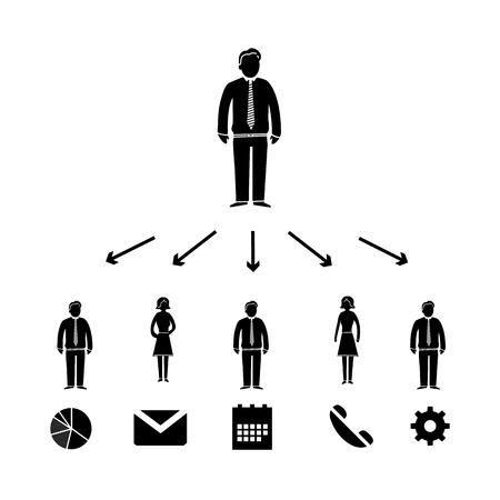 delegar: vector del icono de la delegaci�n jefe de negocios con pictogramas de personas | negro plantilla infograf�a dise�o plano sobre fondo blanco