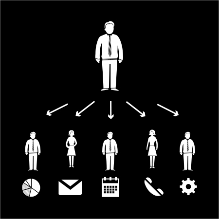 vector of business boss delegation icon with pictograms of people | flat design infographics template white on black background