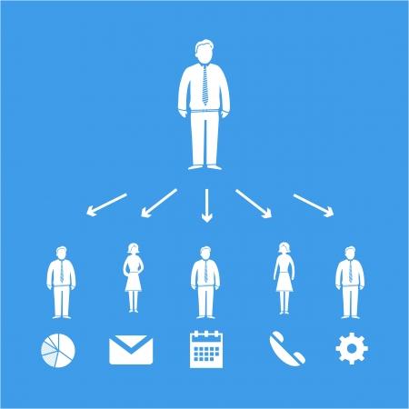 delegar: vector del icono de la delegación jefe de negocios con pictogramas de personas | esqueleto infografía diseño plano