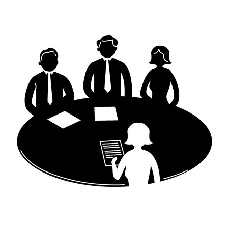 vector zakelijke bijeenkomst icoon met pictogrammen van de mensen rond de tafel | platte ontwerp infographics sjabloon zwart op witte achtergrond