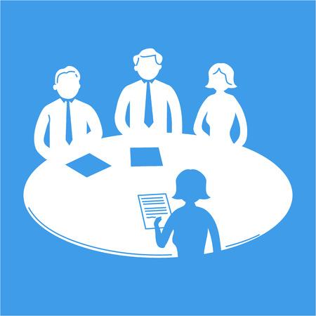テーブルの周りの人々 のピクトグラムをベクトル ビジネス会議アイコン |青い背景に白でフラットなデザインのインフォ グラフィック テンプレー
