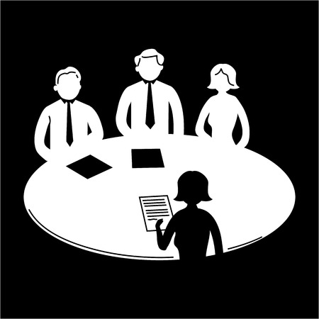 vector business meeting icon with pictograms of people around table | flat design infographics template white on black background Vectores