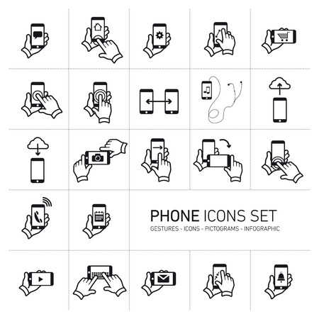 Vector phone icons set with gestures and pictograms | flat design infographic black on white background