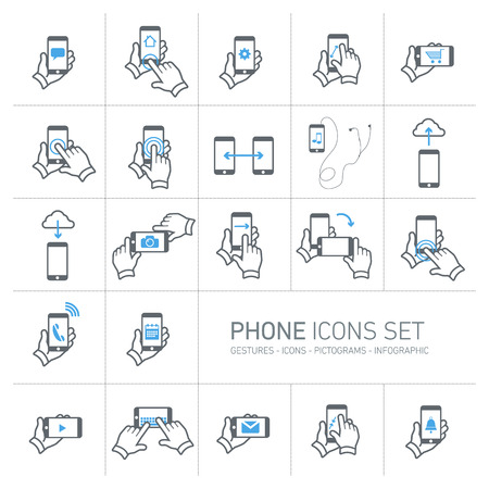 Vector phone icons set with gestures and pictograms | flat design infographic grey on white background Vectores