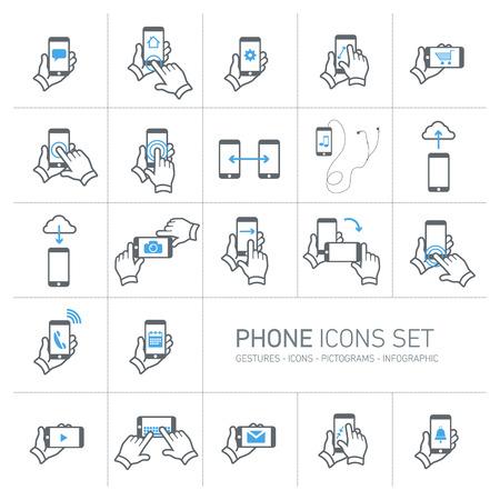 Vector telefoon pictogrammen die met gebaren en pictogrammen | platte ontwerp infographic grijs op een witte achtergrond Stock Illustratie