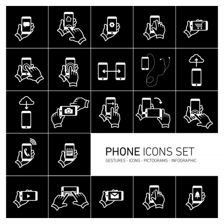 hand gestures: Vector phone icons set with gestures and pictograms | flat design infographic white on black background Illustration