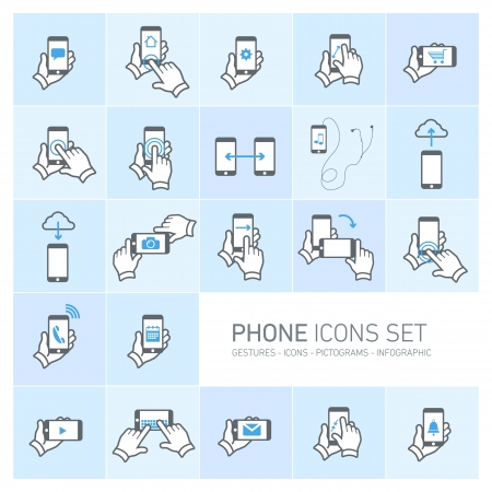 Vector phone icons set with gestures and pictograms | flat design infographic grey on blue background Vectores