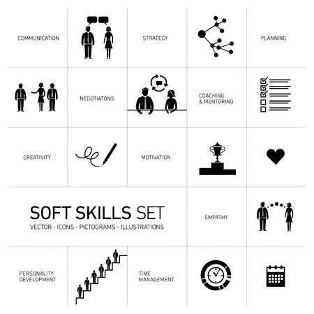 umiejętności: Wektorowe ikony umiejętności miękkie zestaw czarny i piktogramy na białym tle