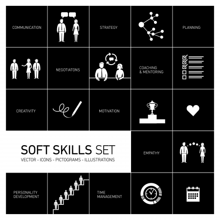 personality development: Soft skills vector icons and pictograms set white on black background