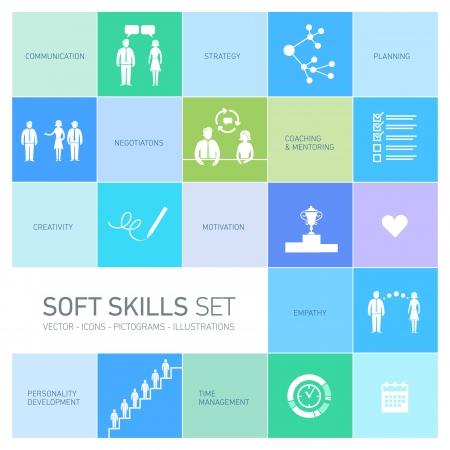 Soft skills vector iconen en pictogrammen set zwart op colorfulf achtergrond
