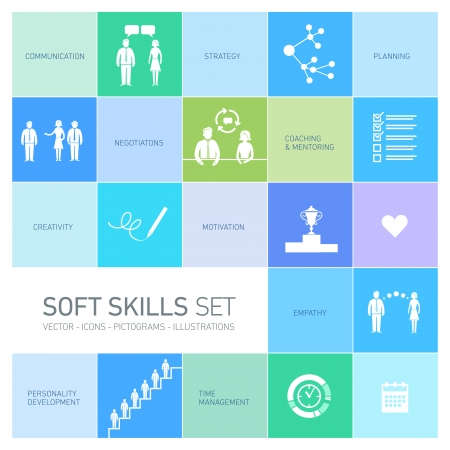 personality development: Soft skills vector icons and pictograms set black on colorfulf background