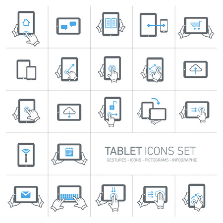 Vector tablet icons set with gestures and pictograms | flat design infographic grey and blue on white background