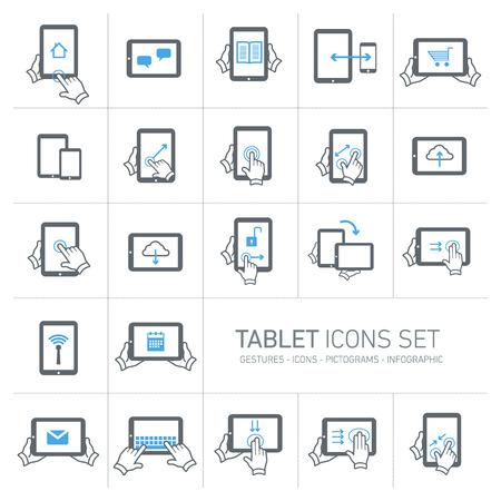 Vector tablet pictogrammen die met gebaren en pictogrammen | platte ontwerp infographic grijs en blauw op een witte achtergrond