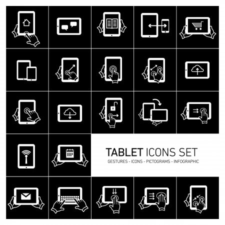 Vector tablet icons set with gestures and pictograms | flat design infographic white on black  Stock Vector - 24380338