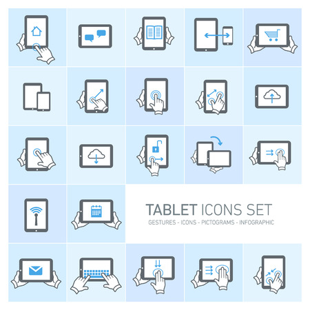 Vector tablet icons set with gestures and pictograms | flat design infographic grey on blue  Vector