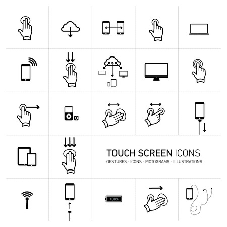 pictogrammes: Vector squares illustration with icons, typography and pictograms of hands, fingers, phones, tablets and other touch screen devices | black on white