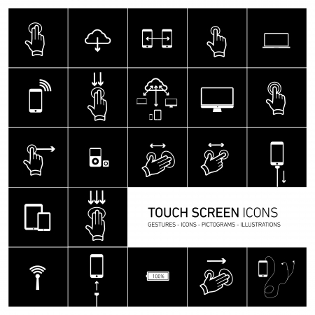 pictogrammes: Vector squares illustration with icons, typography and pictograms of hands, fingers, phones, tablets and other touch screen devices | white on black