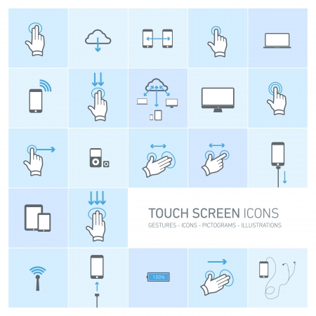 pictogrammes: Vector squares illustration with icons, typography and pictograms of hands, fingers, phones, tablets and other touch screen devices | ready to place your content