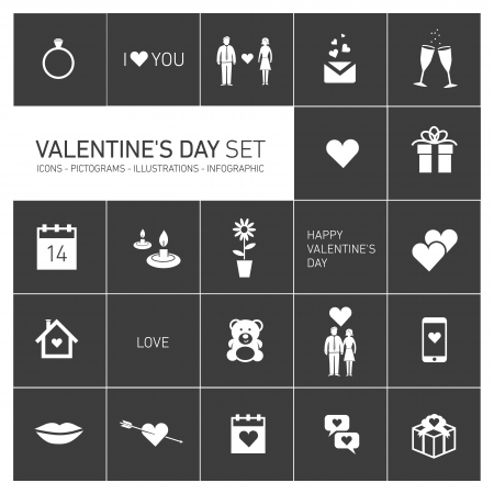 vector happy valentines day icons and pictograms set white on black ,  hearts, bear, people Vector