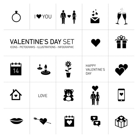 vector happy valentines day icons and pictograms set black on white ,  hearts, bear, people Vector
