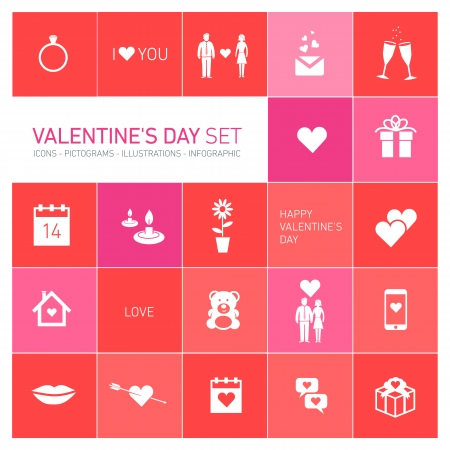 vector happy valentines day icons and pictograms set,  hearts, bear, people