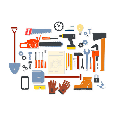 Vector flat design modern illustration icons set of craft, tools and equipment | craftsman infographics Isolated on white background Vector