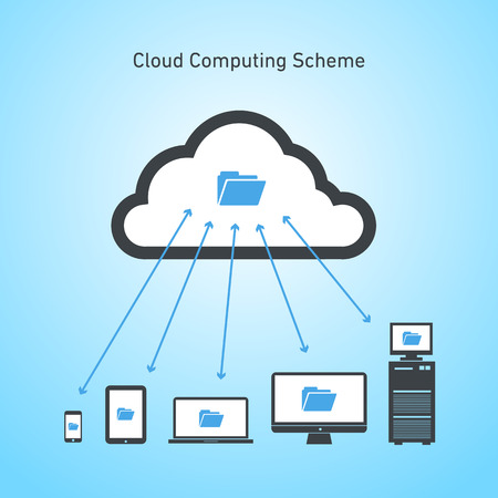 Vector abstract cloud computing scheme icon | flat design business infographics black on blue background Vector