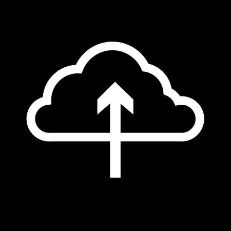 wireless lan: cloud computing download icon | vector flat design element white on black background