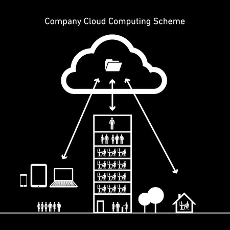 vector abstract company cloud computing scheme icon | flat design infographics whiteon black background Vector