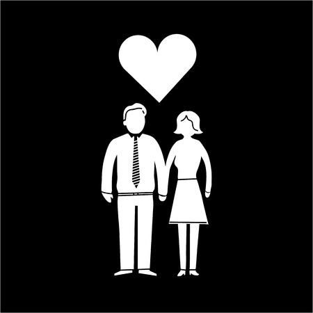 vector couple in love icon | iflat design infographics white on black background Vector