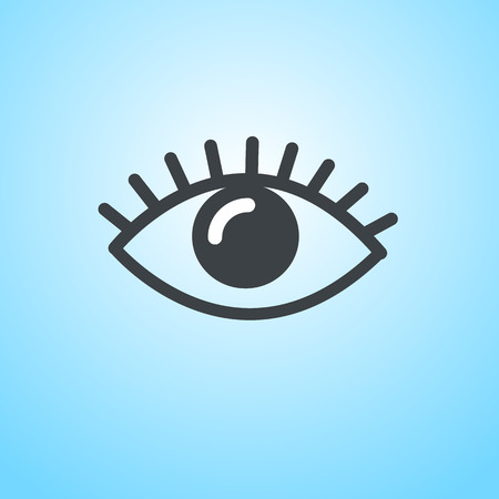vector flat design eye icon | pictogram on blue background