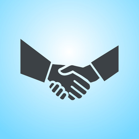 introducing: vector hand shake flat design icon | pictogram on blue background