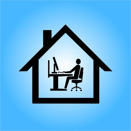 vector home office icon flat design infographic pictogram black on blue background Vector