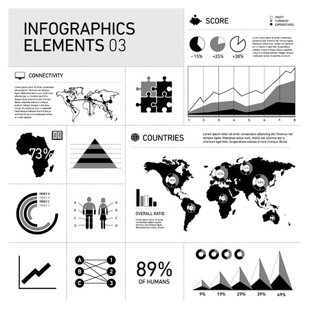 vector flat design infographics elements, business information graphic black on white backgroud Vector