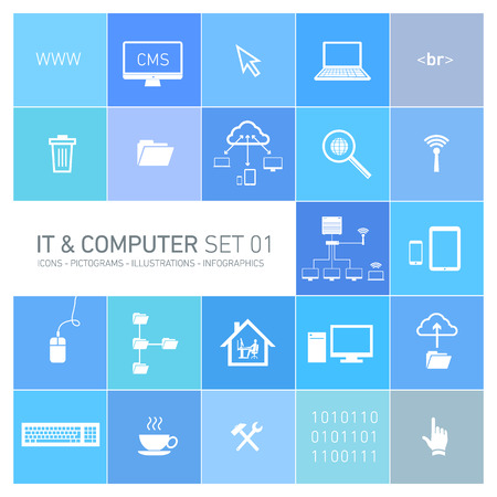 abstract vector information technology and computer icons and pictograms set   flat design ingfographics of it white on multicolor background Vector