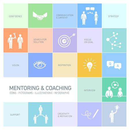 vector abstracte mentoring en coaching iconen en pictogrammen set van vaardigheden en oplossingen | platte ontwerp infographics wit op multicolor achtergrondkleur