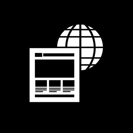 vector flat design icon of on page factors with globe and website for web design and seo search engine optimisation infographic pictogram isolated on black background Vector