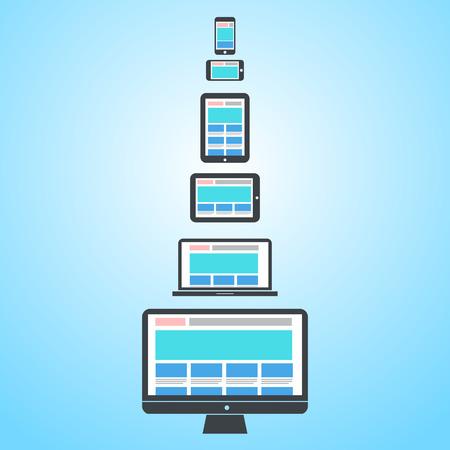 異なるデバイス上レスポンシブ web デザイン |フラットなデザインのインフォ グラフィックをベクトルします。