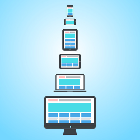responsive web design on different devices   vector flat design infographic
